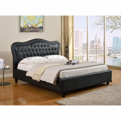 QUEEN SIZE BLACK LEATHER BED