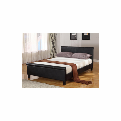 Queen size & sleigh  faux leather platform bed