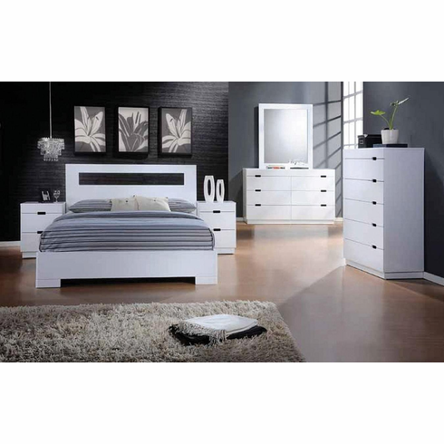 QUEEN WHITE VISTA BEDROOM 4PC/SET INCLUDES BED, DRESSER, MIRROR AND NIGHT STAND