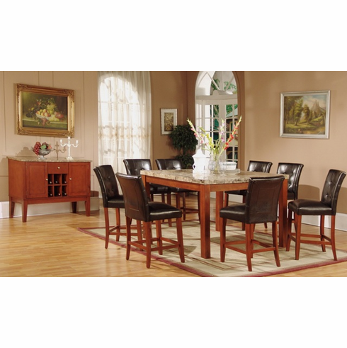 Real Brown Marble 5pcs Pub Table set