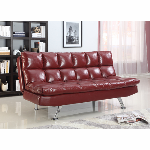 Red Adjustable Futon Bed in PU