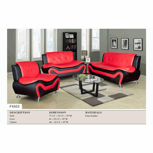 RED/BLACK FAUX LEATHER SOFA, LOVE AND CHAIR