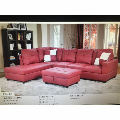 RED SECTIONAL WITH OTTOMAN HAS STORAGE