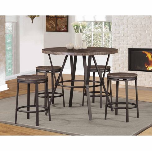 Round Brown Counter Height Table set with 4 bar stool