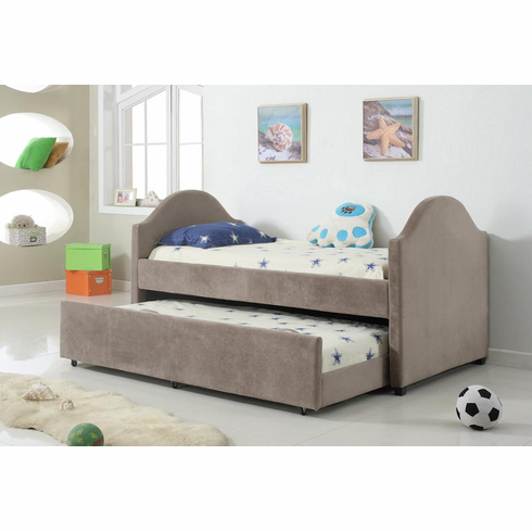 TAUPE TWIN BED WITH TRUNDLE ( MATTRESS OPTIONAL)