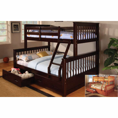 *TWIN/ FULL BUNK BED IN ESPRESSO FINISHED AVAILABLE WITH DRAWERS