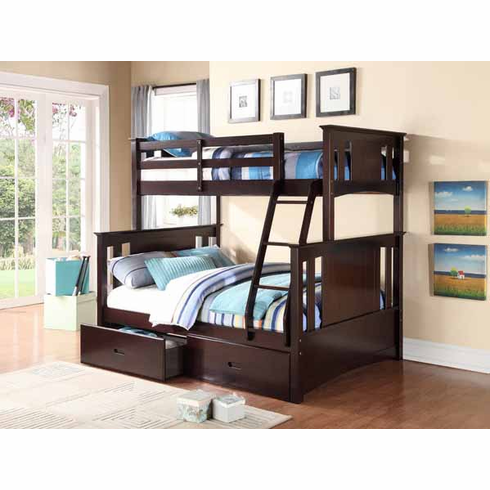 *Twin/ Full Espresso Bunk Bed available with 2 drawers