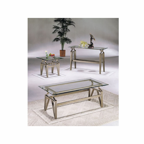 V style glass top coffee & end table set