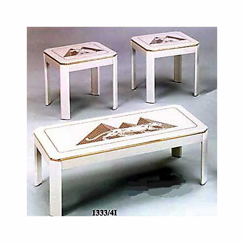 white coffee & end table set with panther design