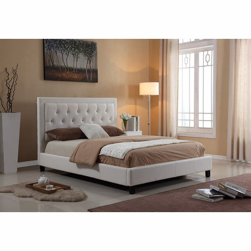 WHITE FULL SIZE PLATFORM BED WITH LIMESTONE