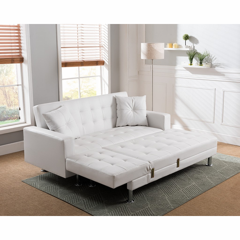 White PU Sleeping Sectional