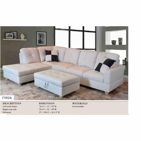 White sectional with ottoman