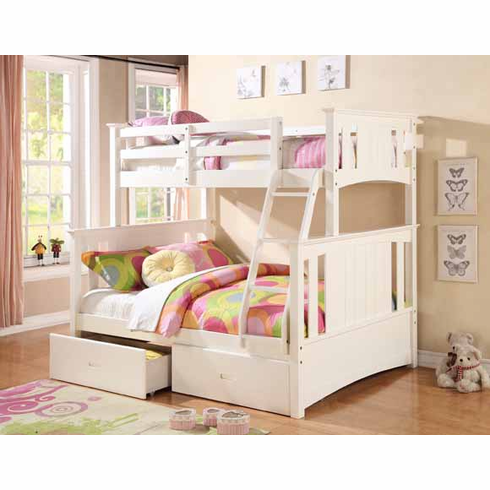 *WHITE TWIN/ FULL BUNK BED AVAILABLE WITH 2 DRAWERS