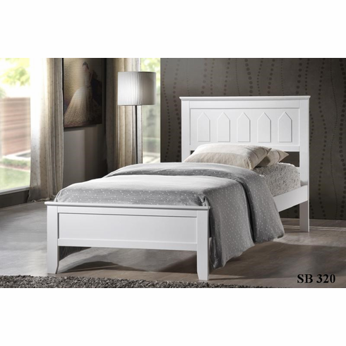 WHITE TWIN WOODEN TWIN PLATFORM BED