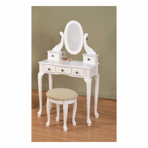 WHITE VICTORIAN TABLE WITH STOOL