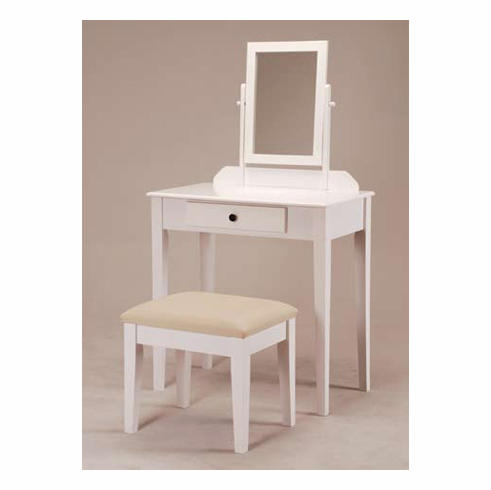 White Wooden Vanity with Stool