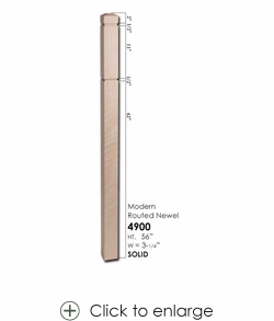 """4900 3-1/4"""" Modern Routed Newel – Small"""