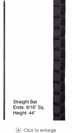 """Hollow Gothic Hammered 9/16"""" Square Hammered Bar in Ash Grey"""