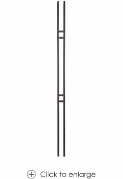 Modern Small Double Square Baluster - Hollow