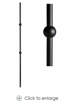 Round Double Sphere Baluster 5/8in x 44in in Ash Grey