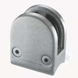 Stainless Rounded Glass Clamp for 1.66 inch diameter Newel - 1/2 inch Glass