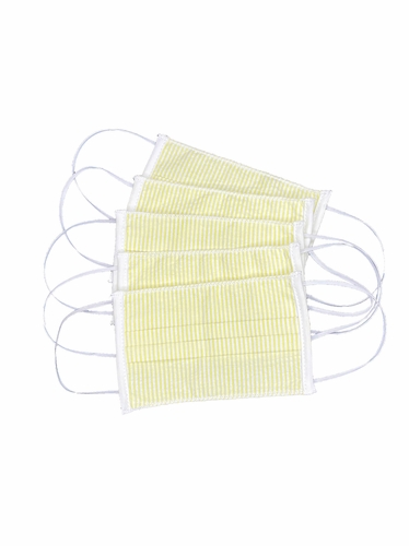 100% Cotton Yellow Reusable Masks for Adults w/ Filter Pocket