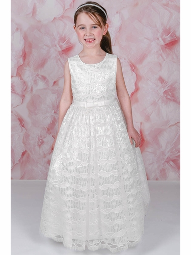 Adorable Kids Dahlia Embroidered Overlay w/ Sequins and Beads