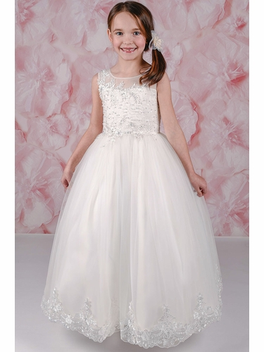 Adorable Kids Gabriella Embroidered Silver Pearl Bodice w/ Lace Applique Waistline