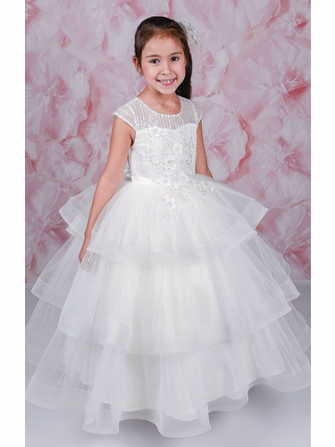 Adorable Kids Katia Cap Sleeve Illusion Neckline w/ 3 Layered Gathered Skirt