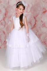 Adorable Kids Leila Sequin Bodice &  Beaded Waistline w/ Double Layer Overlay Tulle Skirt