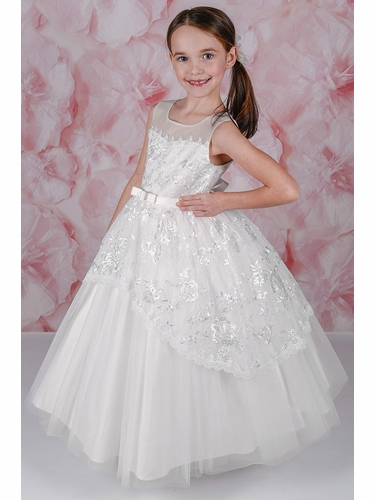 Adorable Kids Natalia Sleeveless Illusion Neckline w/ Full Gathered Tulle Skirt