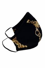 Adult 2-Ply Gold Chain Print Face Shaped Mask