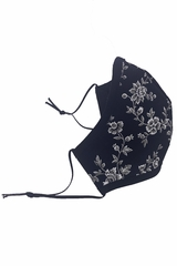 Black Floral 2-Ply 100% Cotton Face Shaped Mask