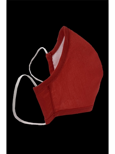 Adult Red 100% 2-Ply Cotton Face Shaped Mask