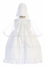 Angels Dress DR-051 Shantung Poly Christening Gown w/ Matching Cape & Bonnet