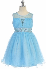 Angels Garment DR-012 Blue Sparkly Tulle Dress With Curly Wire Hem