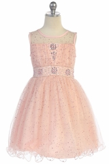 Angels Garment DR-012 Blush Sparkly Tulle Dress With Curly Wire Hem