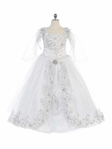 Angels Garment DR-1904 Satin Dress with Virgin Mary Embroidery & Tulle Overlay w/ Removable Organza Cape