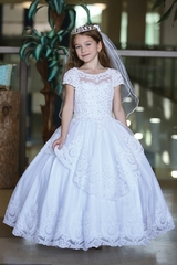Angels Garment DR-2101 Cap Sleeve Lace Ball Gown w/ Silver Stones