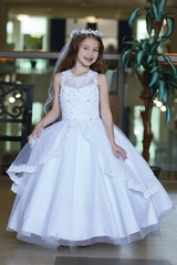 Angels Garment DR-2103 Sleeveless Embroidered Bodice & Lace Trimmed Apron Skirt