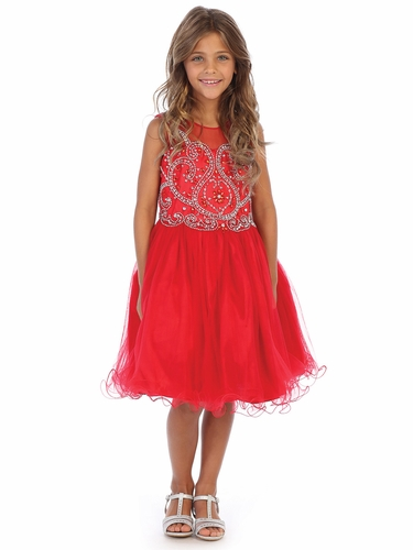 Angels Garment DR-5264 Red Beaded Bodice Tulle Dress w/ Corset Back