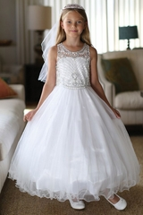 Angels Garment DR-5280 Satin Dress With Heavily Beaded Bodice & Doubled Layered Skirt