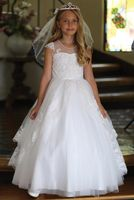 Angels Garment DR-5282 Cap Sleeve Satin Dress w/ Embroidered Bodice & Sequin Trimmed Lace