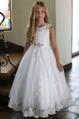 Angels Garment DR-5302 Satin Dress With Embroidered Bodice & Sequin Trimmed Lace