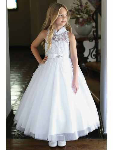 Angels Garment DR-5304 White High-Neck Communion Dress w/ Embroidery & Lace Trim