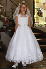 Angels Garment DR-5336 Illusion Neckline w/ Beaded Lace & Full Skirt