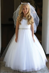Angels Garments DR-5248 Pleated Bodice Tulle Dress w/ Jeweled Neckline & Belt