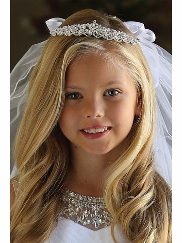 Angels Garments Rhinestone Tiara w/ Bow Veil