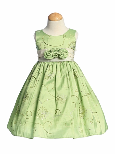 Apple Green Embroidered Taffeta w/ Rose Buds