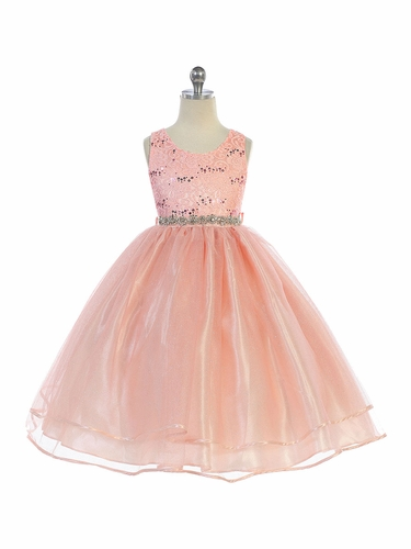 Audrey Bean Blush Flower Lace w/ Sequins Glitter Mesh Skirt & Belt